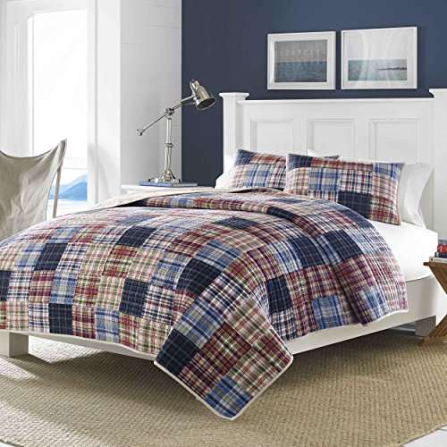 1 Piece Blue Patchwork Full Queen Quilt Classic Red Gray Country Sqaure Stripped Pattern Nautical Vintage Rugby Stripes Cottage Grey Reversible Bedding Cotton