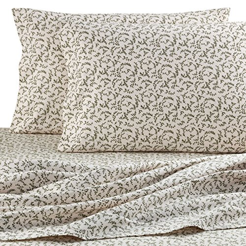 The Seasons Collection Heavyweight Flannel Sheet Set Sage Vine TWIN