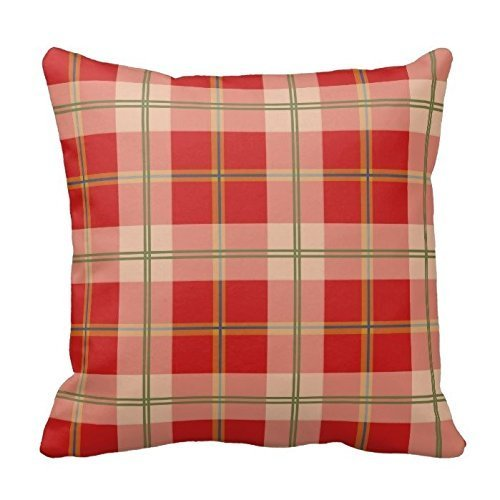 Cushion Cases Custom Decorative Red Green and Gray Gingham Chess Pattern Square Pillowcases Cover for Home Sofa Zippered Two Sides