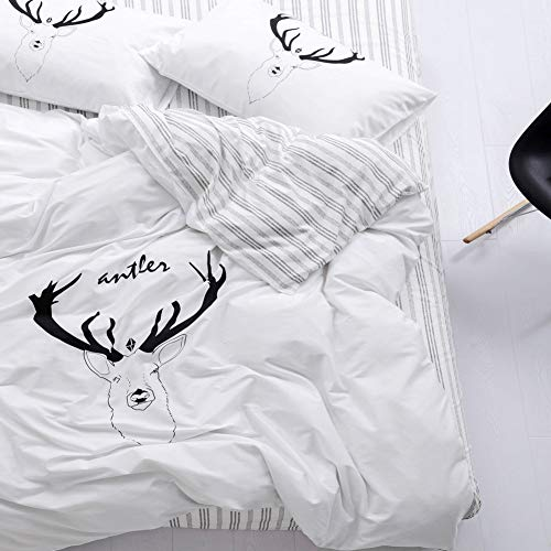 Trasign Twin Duvet Cover Set Kids Cotton Duvet Comforter Cover Striped with Deer Printed for Boys Girls Zipper Closure  2 Pillowcases Deer Twin