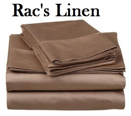 Racs Linen  - Sneaky Room Finer Feel King Size 800 Thread Count Genuine 100 Egyptian Cotton Sheet Set 4-Pieces Sheets Fits Extra Large Mattress 24 Inches Depth  Taupe Solid