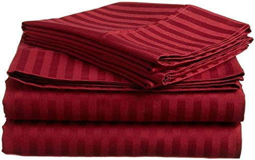 Cotton Bed Sheets - 100 Cotton - 500 Thread Count - 4-8 Inch Deep Pocket Fitted Sheet with Elastic All Around- Soft Luxurious Hotel Quality SheetsBurgundy Stripe - Full-XXL