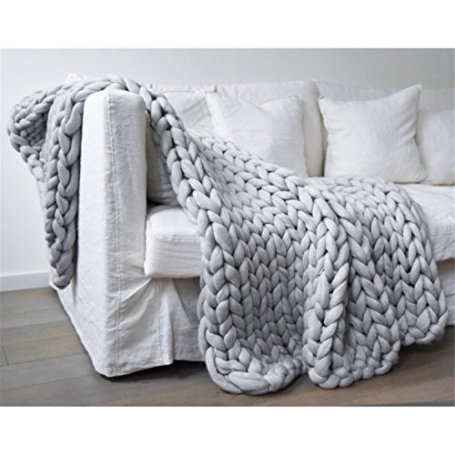 Knit Blanket Throw Soft Rug Sofa Bed Lounge Decorator Knitted Small Size Pet Bed Mat Rug 472x59inches-120x150cm Light Grey