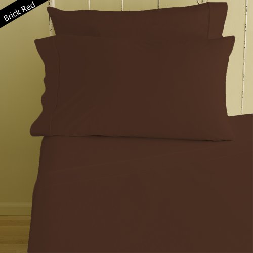 Authentic Bamboo cotton Sheet Set fits mattresses up to 19deep 1000 TC Color- Brick Red Solid Size Queen By Moonstone
