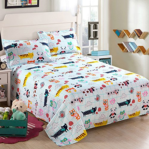 pure Cotton twill bed sheetOne piece cotton dormitory sheetscartoon simplicity double bed sheet-P 230x250cm91x98inch