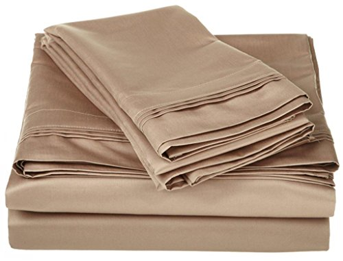600-Thread-Count Egyptian Cotton Sheet Set 4PCs 22 Inch Deep Pocket Olympic Queen Taupe Solid