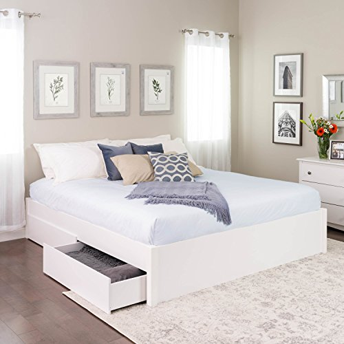 King Select 4-Post Platform Bed with 4 Drawers White