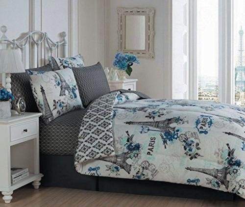 8pc Girls Blue I Love Paris Themed Comforter Queen Set Pretty Floral Eiffel Tower Bedding Cute Rose Flowers France Inspired Girly Flower Medallion Motif Pattern White Black