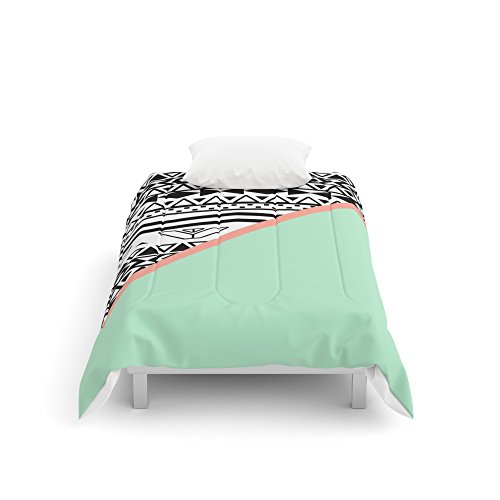 Society6 Block  Black White Aztec Pattern Mint Green Color Block Comforters Twin 68 x 88