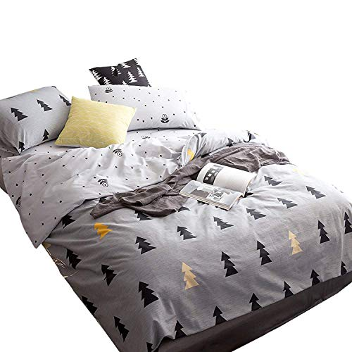Christmas Trees Teens Duvet Cover Full Cotton Kids Comforter Cover Queen with 2 Pillow Shams Boys Girls Bedding Sets Zipper for Home Grey Bedding with 4 Corners Ties Cartoon Quilt Cover No Comforter