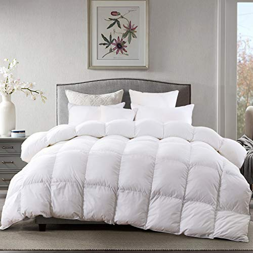 AIKOFUL Goose Down Comforter King SizeSolid White Duvet InsertWhite Goose Down Comforter 1200TC 700Fill Power Cotton Fabric Double Edge Gray Piping