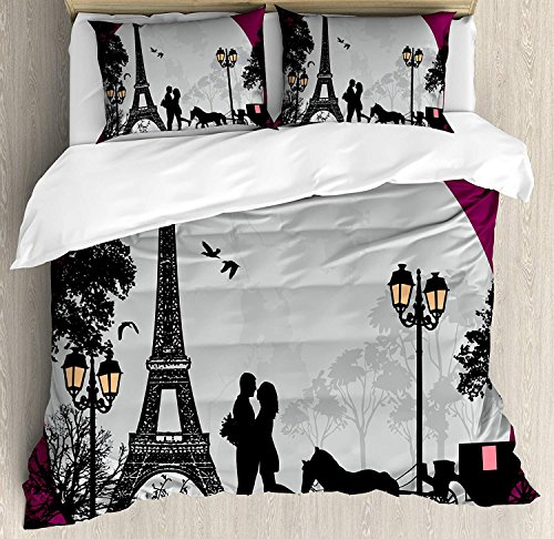 Romantic 4 Piece Bedding Set King Size Horse Carriage Couple Hugging in Front of The Eiffel Tower and Full Moon Duvet Cover Set Quilt Bedspread for ChildrensKidsTeensAdults Fuchsia Grey Black