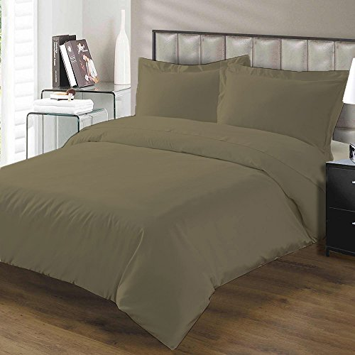 Lussona Collections Authentic 800-Thread-Count 100  Egyptian Cotton Superior Softness Top Quality  3 PCs Duvet Set Protects and Covers Size  Twin  Taupe ORIGINALLY SOLD BY LUSSONA BEDDINGS