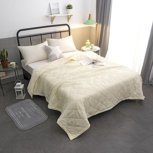 Kingqueen Bed Comforter Quilt Summer Breathable Hollowfibre Filled Duvet Quilt Children Sanding And Printing Cool Summer Air Conditioning Duvet Beige200×230Cm