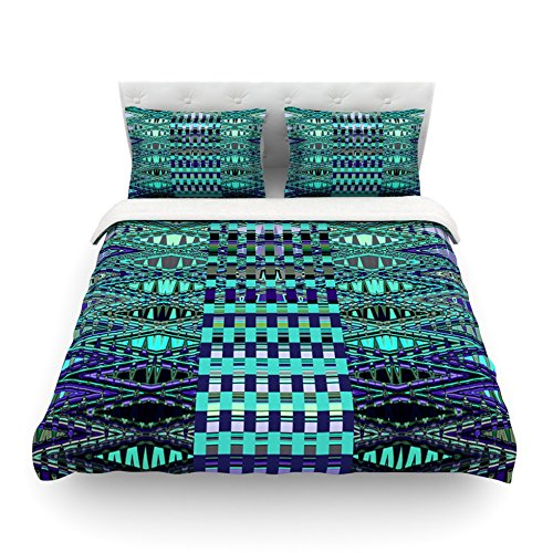 Kess InHouse Nina May New Kilim Seafoam Teal Cotton Duvet Cover 88 by 88-Inch
