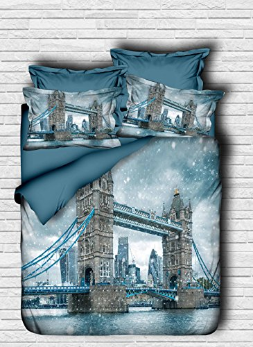 Bekata 3D Printed City Series London Tower Bridge Themed 100 Cotton DoubleQueen Size QuiltDuvet Cover Set Reversible COMFORTER INCLUDED 5 PCS
