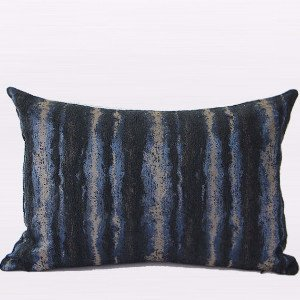 G Home Collection Luxury Blue Mix Color Stripe Pattern Metallic Chenille Pillow Cover 14X20