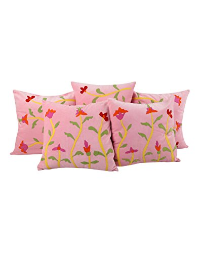 Traditional Designs Pink Pillow Cases Set Of 5 Modern Home Decor 16x16 Cushion Cover Pillow Protectors Cotton Velvet Pillow Covers Patchwork Floral By Rajrang