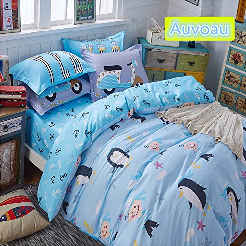 Auvoau Childrens Cartoon Bedding Set Children Pastoral Duvet Cover Set Boy Bedding Twin Queen Size 4PC Queen 5