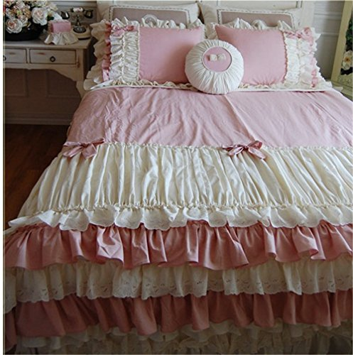 Lotus Karen Sweet Bow-knots Dark Pink Girls Princess Bedding Twin Ruffles Korean Bedding Set For Girls 4PC Cotton Duvet Cover Set1Duvet Cover1Bedskirt2pillowcases King Queen