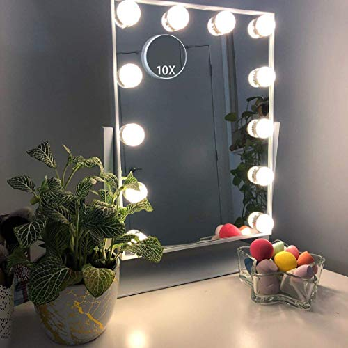 HANSONG Large Hollywood Makeup Vanity Mirror with LightsPlug in Light-up Professional Mirror with StorageRemovable 10x Magnification3 Color Lighting Modes Cosmetic Mirror with 12 Dimmable Bulbs