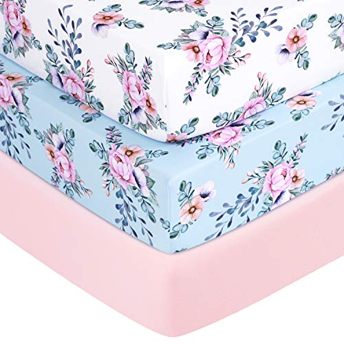 TILLYOU Jersey Knit Floral Crib Sheets Thick Soft Hypoallergenic Baby Bed Sheets for Girls 28 x 52 x 8 Toddler Mattress Sheets 3 Pack Secret Garden
