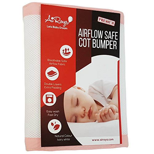 Airoya Premium 2-sided Crib Bumper Double Layers for Extra-Padding Ideal for Solid Ends Slatted Cribs Breathable Safe Crib liner Pink