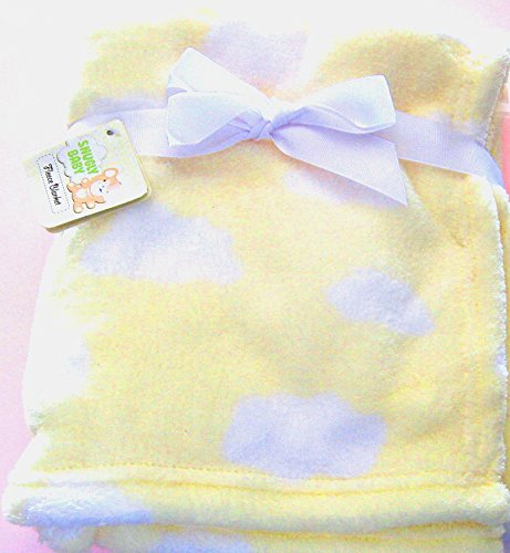 Snugly Baby Fleece Blanket - Yellow with White Clouds