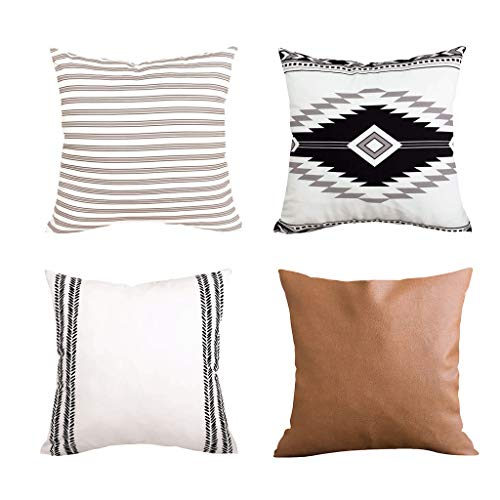 Cushion Cover European Style Mixed Cushion Cover 45x45 4Pc Geometric Short Plush Leather Pillowcase Pillow CaseEaster Decorations Gifts