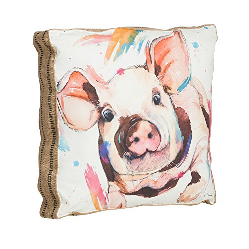 Cape Craftsmen Watercolor Pig 20 Inch Cotton and Burlap Throw Pillow