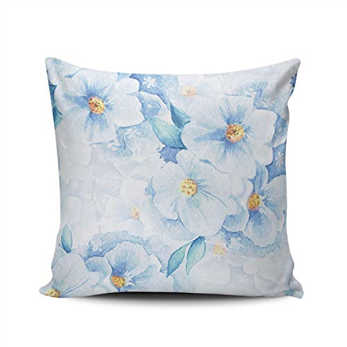 MUKPU Pillow Covers Delicate Flowers Blue Floral Throw Pillow Case Hidden Zipper Decorative Custom Pillow Cases Double Sides Printed Square 18x18 Inches