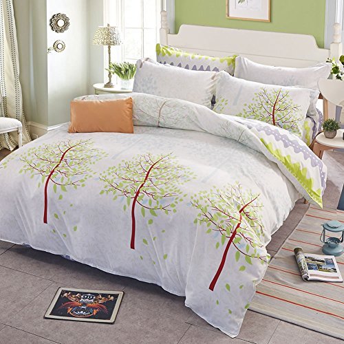 Uozzi Bedding 3 Piece Duvet Cover Set King Reversible Printing with Brushed Microfiber Lightweight Soft Comfortable  Durable White Queen