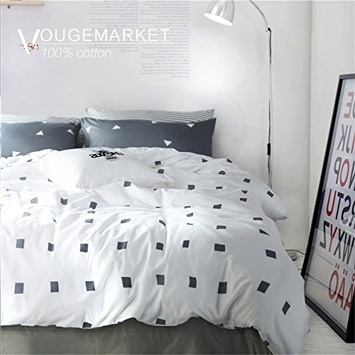 Vougemarket 3 Piece Duvet Cover Set QueenKing Duvet Cover with 2 Pillow Shams - Hotel Quality 100 Cotton - Luxurious Comfortable Breathable Soft and Extremely Durable Queen Style 2