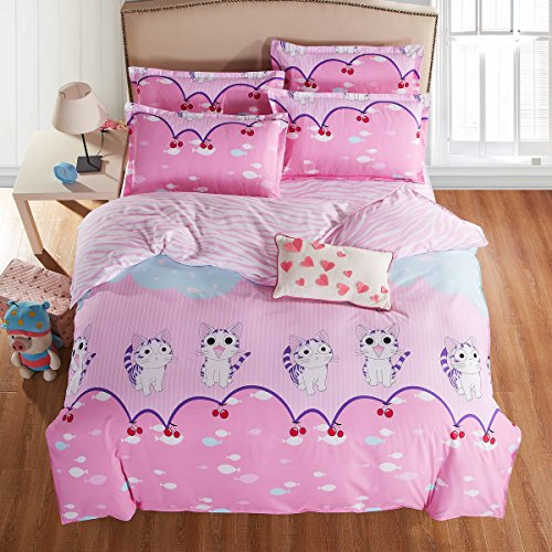 4pcs Bedding Set Duvet Cover Set 100 Combed Cotton One Flat Sheet One Duvet Cover Two PillowCases Twin Full Queen Human Friend Designs Queen Persian Cat