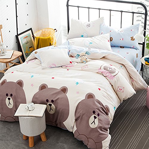 4pcsset 100 Cotton Children One Duvet Cover Without Comforter One Flat Sheet Two Pillow Case Animal Designs Bedding Room Family Gift Queen Cute Bear Beige