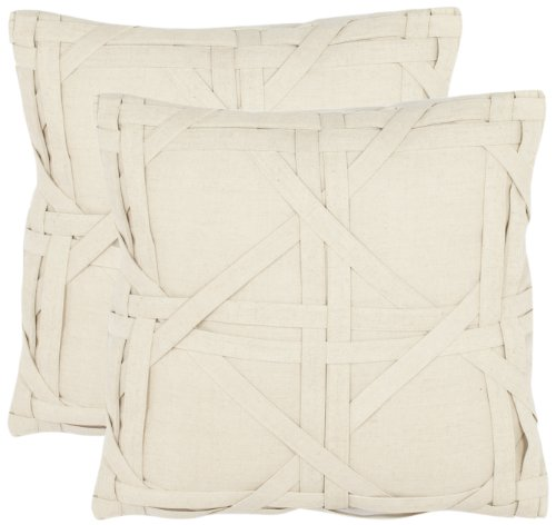 Safavieh Pillow Collection 18-Inch Cane Weave Pillow Beige Set of 2