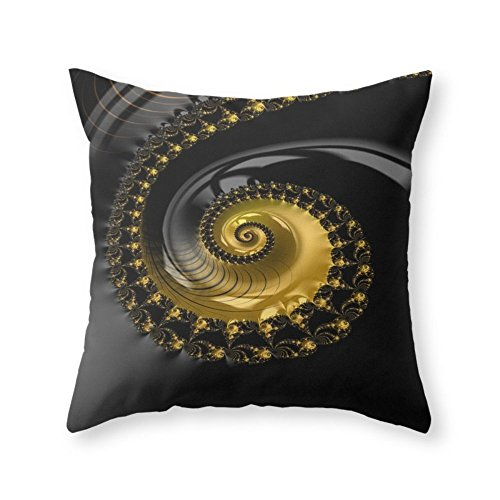 Society6 Fractal Shell Black Gold Throw Pillow Indoor Cover 20 x 20 with pillow insert