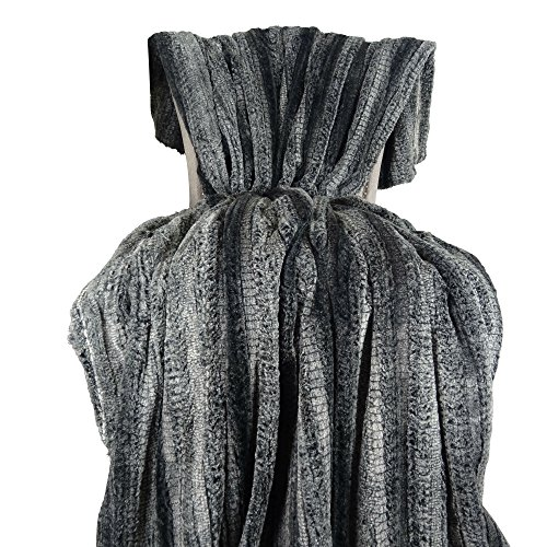 Plutus Brands Cuddle Charcoal Fringe Throw Pillow 102 x 116 GrayCharcoal