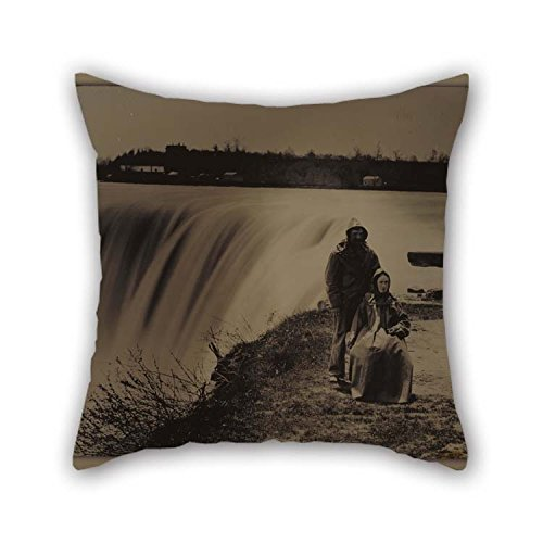20 X 20 Inches  50 By 50 Cm Oil Painting Attributed To Henry Hollister Canadian Active About 1840 - 1860 - Couple At Niagara Falls In Waterproofs Throw Cushion Covers 2 Sides Is Fit For Home C