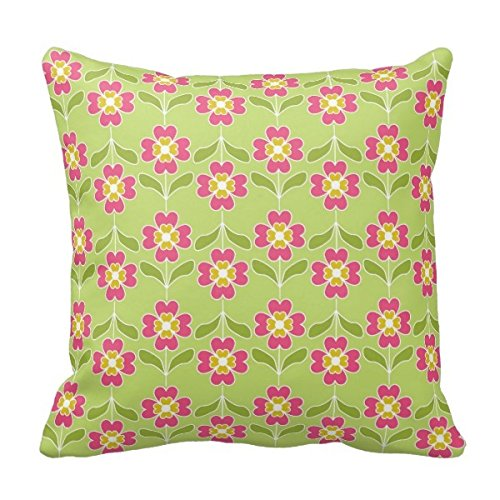 Bigdream Decorative Throw Pillowcase Cushion Case For BedSofa Two Sides 18X18 Simple Retro Floral Pattern Pink Flowers On Lime Throw Pillow Cover