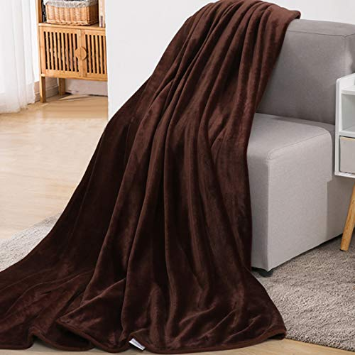 Fraylon Flannel Fleece Blanket for Winter Spring All Season Warm Summer Autumn Blankets for Couch Bed Sofa Twin SizeChocolate66x90 Inch