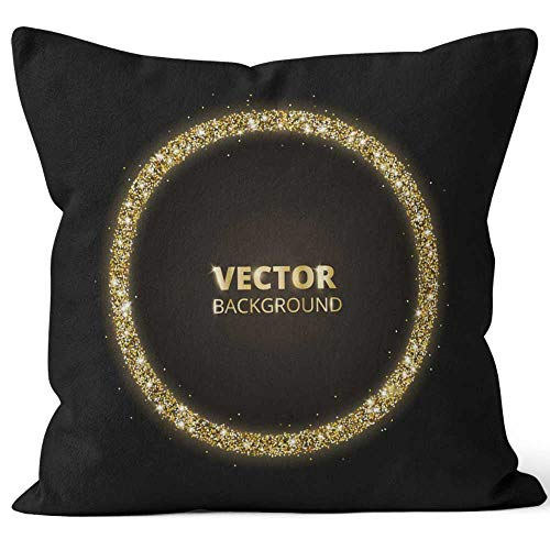 Nine City Golden Sparkle Throw Pillow Cushion CoverHD Printing Decorative Square Accent Pillow Case16 W by 16 L
