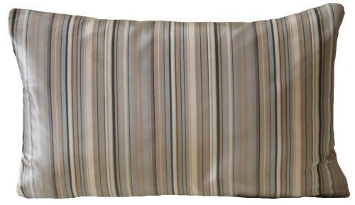 Grey Beige Striped Silk Decorative Pillow Cover Rectangle