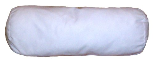 16x15 Inch White Cotton-Blend Zippered Bolster Cylindrical Pillow Cover