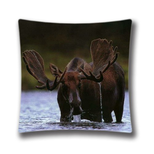 Moose Pillow Case Cotton Polyester Pillow Cover 20x20inch Cushion Cover Holiday Gift