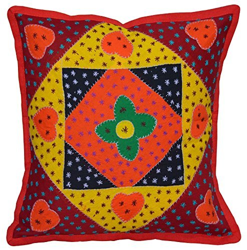 Evergreen Indian Patchwork Pillow Case Throw Embroidery Cushion Cover 16 Standard Multicolor