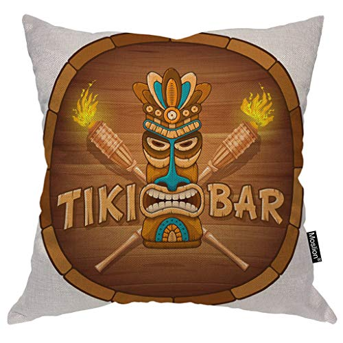 Moslion Tribal Pillows Word Tiki Bar Wooden Mask Bamboo Torch Circle Throw Pillow Cover Decorative Pillow Case Square Cushion Accent Cotton Linen Home 18x18 Inch Brown White