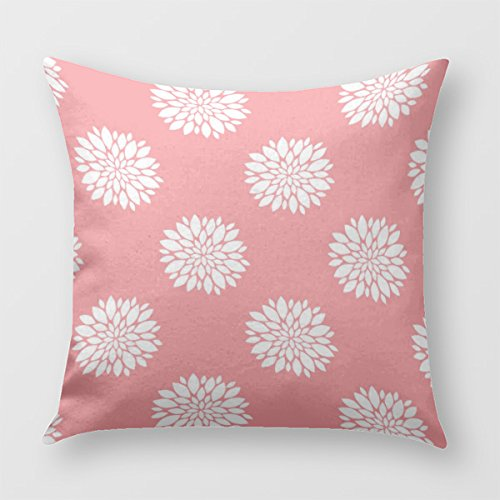 Coral Throw Pillow Cover for Sofa or Bedroom With White Dahlias