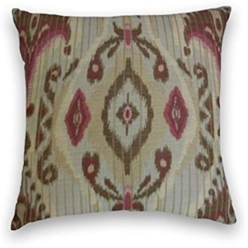Nostalgiaz Red Yellow Grey Suzani Ikat Decorative Pillow Cover 18 x 18 inches