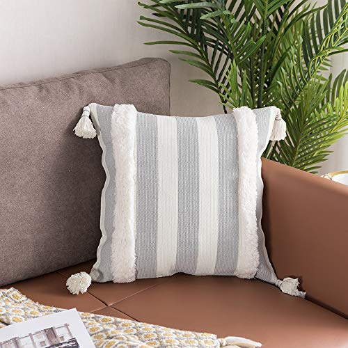 Tiffasea Square Decorative Pillow Covers 18x18inch Gray and White Throw Pillows Soft Tufted Cushion Cover Striped for Bed Couch Sofa Bedroom Living Room Christmas Boho Modern Farmhouse Pillow Case